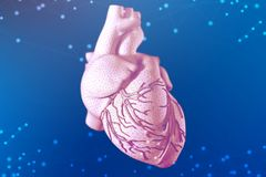 3d illustration of human heart on futuristic blue background. Digital technologies in medicine royalty free stock photo