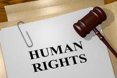 HUMAN RIGHTS concept. 3D illustration of HUMAN RIGHTS title on legal document Stock Images