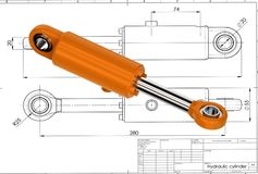 3d illustration of hydraulic cylinder Stock Photo
