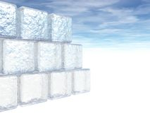 3D illustration of Ice Blocks. A 3D illustration of a wall of ice blocks on white Stock Photography