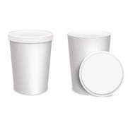 3D illustration. Ice-cream cups  on white background. Mock up. Royalty Free Stock Photo