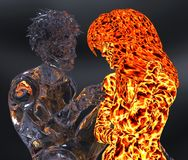 Ice and fire 3d illustration. 3D Illustration Ice male figure and fire female figure Royalty Free Stock Photos
