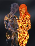 Ice and fire 3d illustration. 3D Illustration Ice male figure and fire female figure Stock Photo