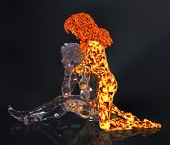 Ice and fire 3d illustration. 3D Illustration Ice male figure and fire female figure Stock Photography