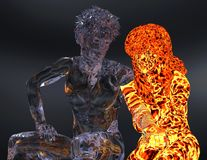 Ice and fire 3d illustration. 3D Illustration Ice male figure and fire female figure Stock Image