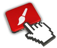 Brush Icon. 3D illustration Icon- Hand Cursor Click Royalty Free Stock Image