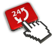 24 Hours Icon. 3D illustration Icon- Hand Cursor Click Stock Image