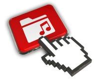 Music Folder Icon. 3D illustration Icon- Hand Cursor Click Royalty Free Stock Image