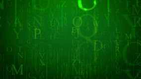 Optical art letter illustration. 3d illustration of imposing English letters in the light green background with several networks. The most numerous are O, P, U stock illustration
