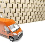 3d illustration. Inaccurate package handling and delivery. Heap of boxes and red van. White background. vector illustration