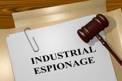 INDUSTRIAL ESPIONAGE concept. 3D illustration of INDUSTRIAL ESPIONAGE title on legal document stock illustration