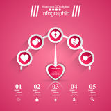 3D  illustration Infographic. Heart, speedometer icon. Royalty Free Stock Image