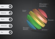 3D illustration infographic template with ball askew divided to five color slices. 3D illustration infographic template with motif of ball askew divided to five Royalty Free Stock Image