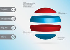 3D illustration infographic template with ball horizontally divided to four standalone color parts. 3D illustration infographic template with motif of ball Stock Photo