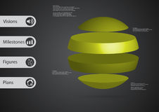 3D illustration infographic template with ball horizontally divided to four standalone green parts. 3D illustration infographic template with motif of ball Royalty Free Stock Photography