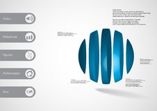 3D illustration infographic template with ball vertically divided to five parts Royalty Free Stock Images