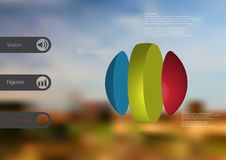 3D illustration infographic template with ball vertically divided to three parts Royalty Free Stock Images