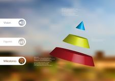 3D illustration infographic template with cone divided to three parts askew arranged Stock Image