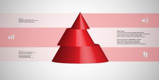 3D illustration infographic template with cone horizontally sliced to three shifted parts. 3D illustration infographic template with motif of horizontally sliced royalty free illustration