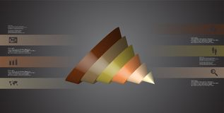 3D illustration infographic template with cone sliced to six spilled parts. 3D illustration infographic template with motif of sliced cone to six color parts royalty free illustration