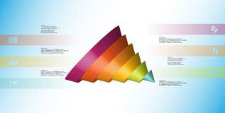 3D illustration infographic template with cone sliced to six spilled parts. 3D illustration infographic template with motif of sliced cone to six color parts stock illustration
