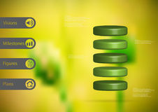 3D illustration infographic template with cylinder horizontally divided to five green slices Stock Photo