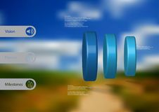 3D illustration infographic template with cylinder vertically divided to three parts. 3D illustration infographic template with motif of three blue cylinders Stock Photo