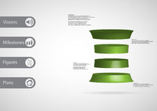 3D illustration infographic template with deformed cylinder horizontally divided to four green slices royalty free illustration