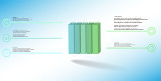 3D illustration infographic template with embossed cube vertically divided to five parts royalty free stock images