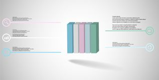3D illustration infographic template with embossed cube vertically divided to five parts stock images