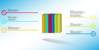 3D illustration infographic template with embossed cube vertically divided to six parts royalty free stock images