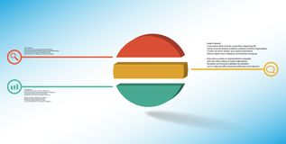 3D illustration infographic template with embossed ring divided to three parts royalty free stock photography