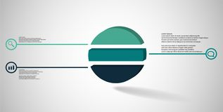 3D illustration infographic template with embossed ring divided to three parts stock photography