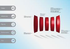 3D illustration infographic template with five deformed cylinders horizontaly arranged. 3D illustration infographic template with motif of deformed bar Royalty Free Stock Photos