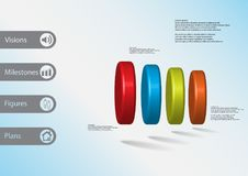 3D illustration infographic template with four cylinders horizontaly arranged. 3D illustration infographic template with motif of four color cylinders royalty free illustration