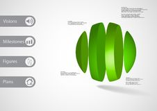 3D illustration infographic template with ball vertically divided to four parts Royalty Free Stock Photos
