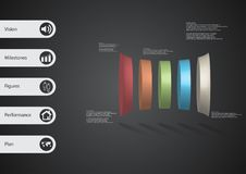 3D illustration infographic template with five deformed cylinders horizontaly arranged. 3D illustration infographic template with motif of deformed bar vector illustration
