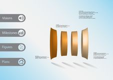 3D illustration infographic template with four deformed cylinders horizontaly arranged. 3D illustration infographic template with motif of deformed bar royalty free illustration