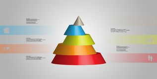 3D illustration infographic template with cone horizontally sliced to five shifted parts. 3D illustration infographic template with motif of horizontally sliced stock illustration