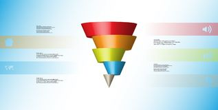 3D illustration infographic template with cone horizontally sliced to five shifted parts. 3D illustration infographic template with motif of horizontally sliced Stock Photography