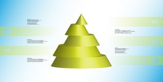 3D illustration infographic template with cone horizontally sliced to five shifted parts. 3D illustration infographic template with motif of horizontally sliced Royalty Free Stock Images