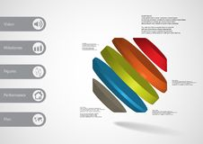 3D illustration infographic template with rotated octagon divided to five parts askew arranged Stock Image