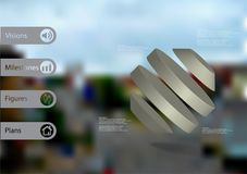 3D illustration infographic template with rotated octagon divided to four parts askew arranged Stock Photos