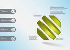 3D illustration infographic template with rotated octagon divided to four parts askew arranged Stock Image