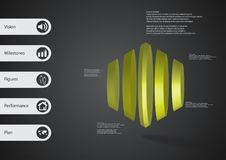 3D illustration infographic template with round hexagon vertically divided to five parts. 3D illustration infographic template with motif of round hexagon Royalty Free Stock Photography
