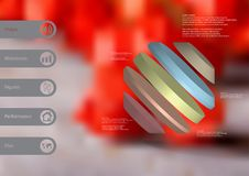3D illustration infographic template with rotated octagon divided to five parts askew arranged Royalty Free Stock Photos