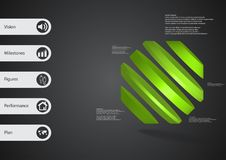 3D illustration infographic template with rotated octagon divided to five parts askew arranged Royalty Free Stock Photography
