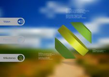 3D illustration infographic template with rotated octagon divided to three parts askew arranged Royalty Free Stock Images