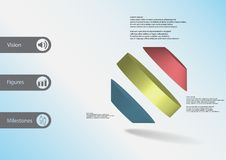 3D illustration infographic template with rotated octagon divided to three parts askew arranged Stock Image