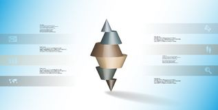 3D illustration infographic template with spiked cone horizontally sliced to six parts Royalty Free Stock Photos